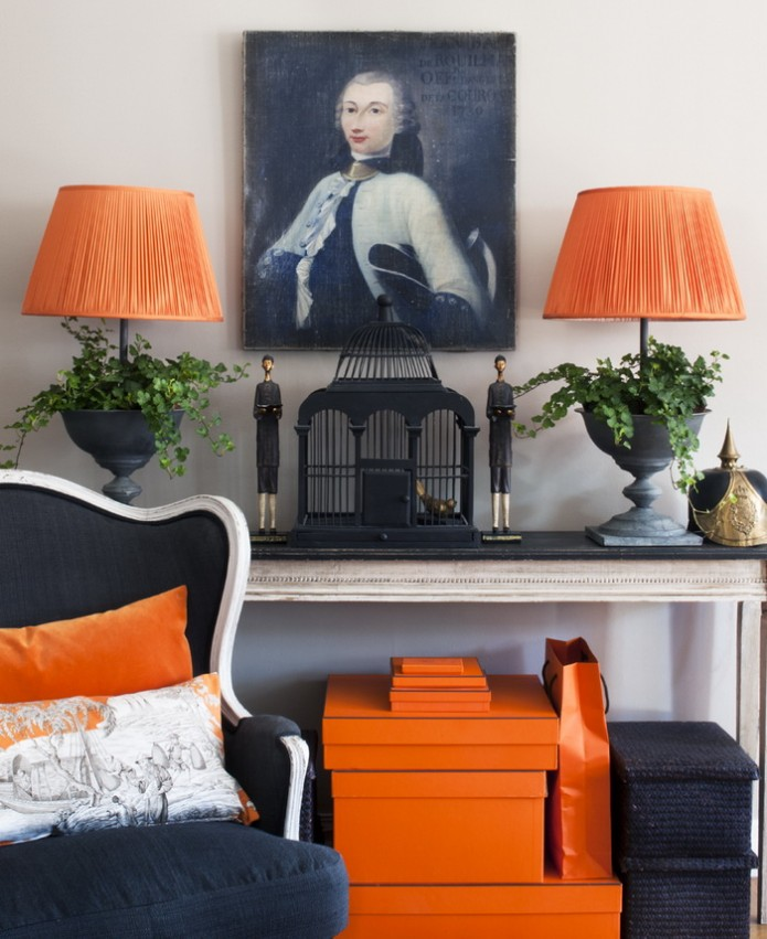 orange lampshades and Hermes boxes