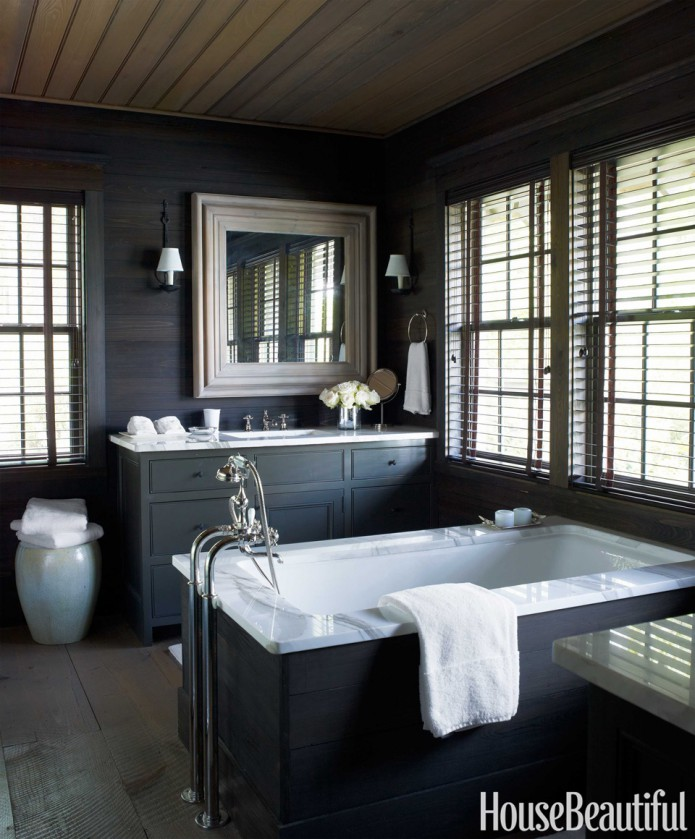 black and wood bathroom