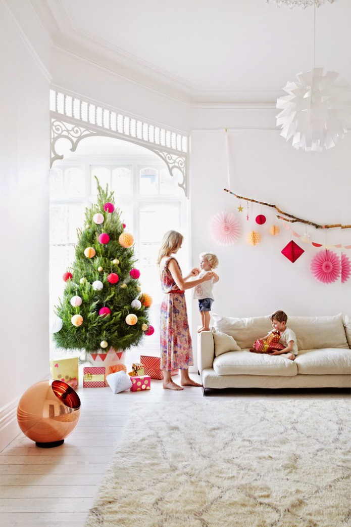 christmas decor in pink and orange