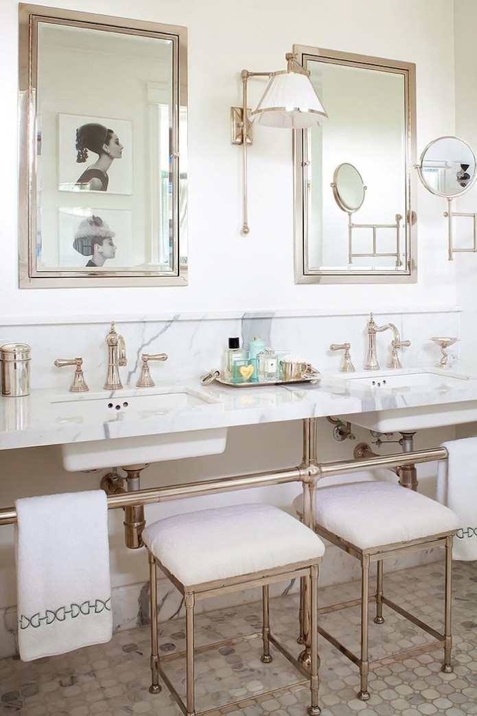 double marble sinks in bathroom by designer Anne Hepfer