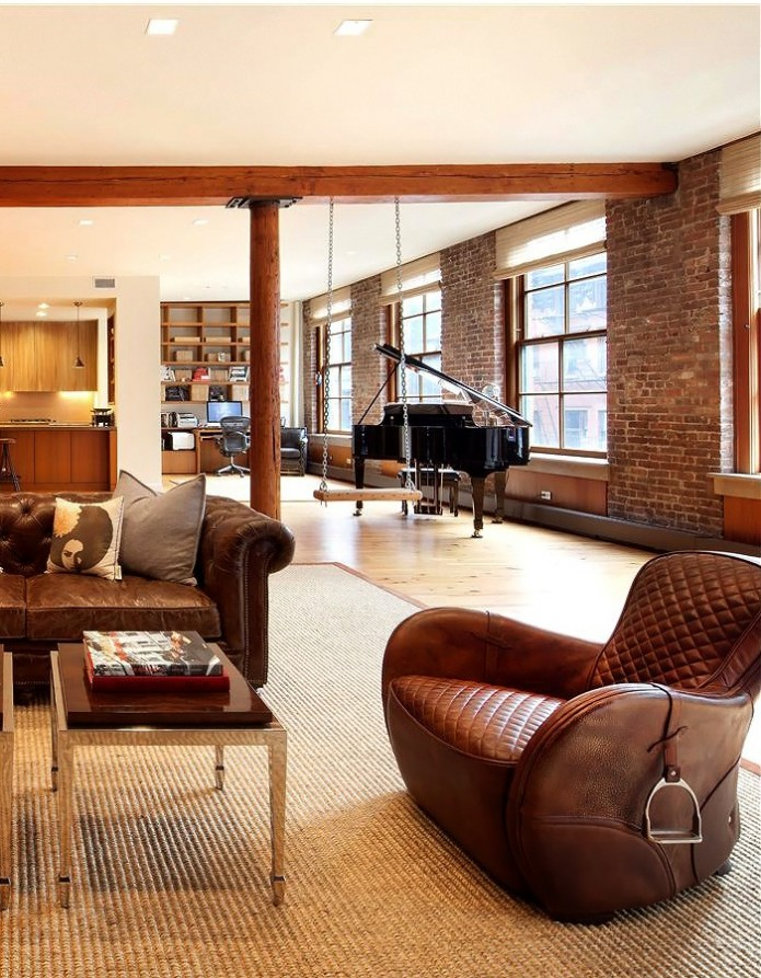 leather and brick loft
