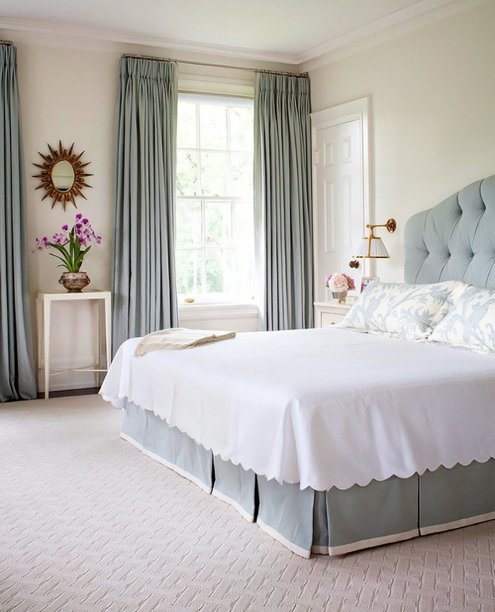 neo-traditional bedroom in blue and white by Anne Hepfer