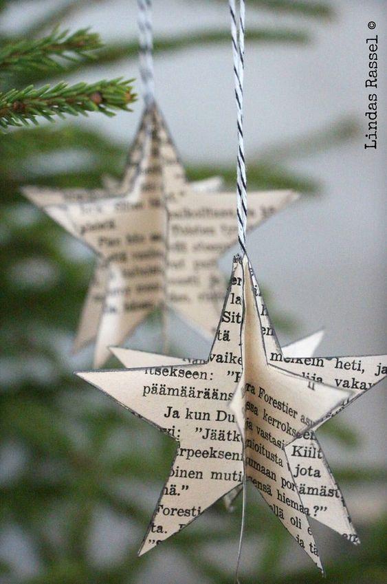 étoiles, guirlandes, journaux, diy, temps des fêtes
