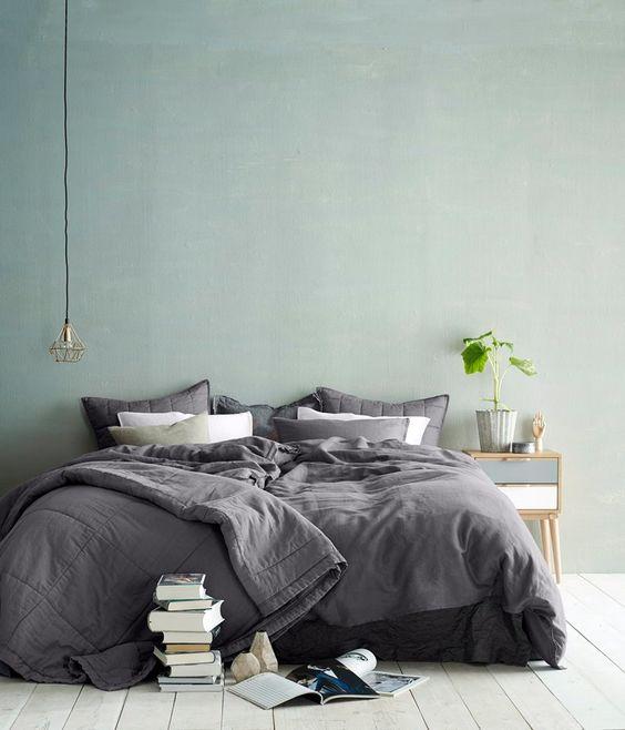 chambre à coucher, vert sauge, gris, inspiration