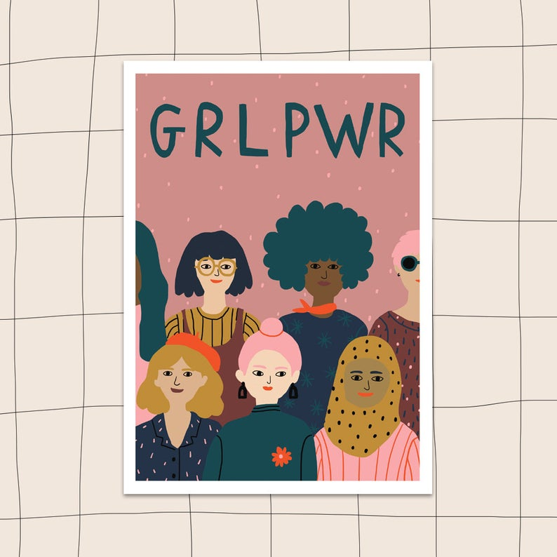 Jeninuferu, GRL PWR, féministe, féminisme, art, illustration, etsy