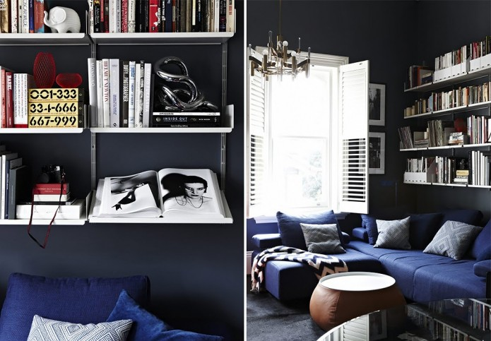 Black And Cobalt Blue Living Room