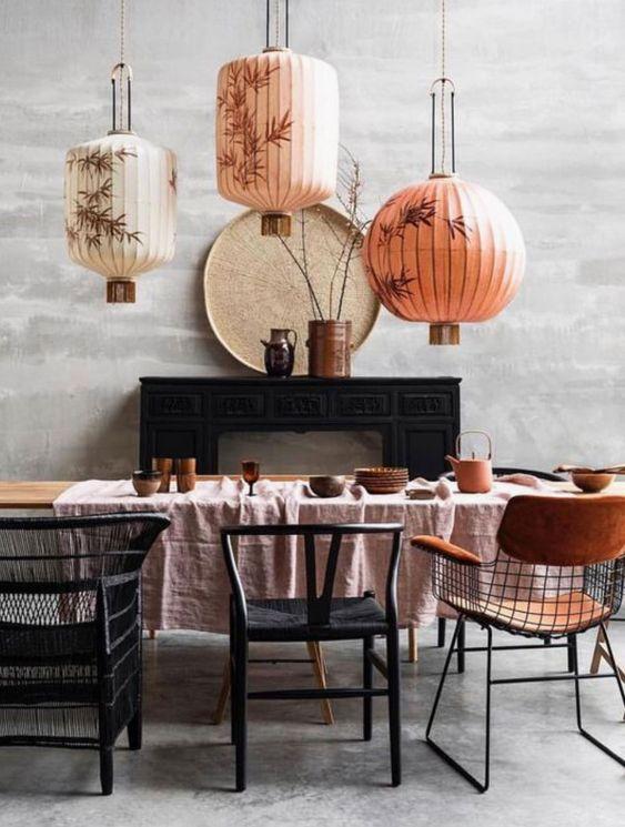 lanterne, chine, salle à manger, inspiration, deco