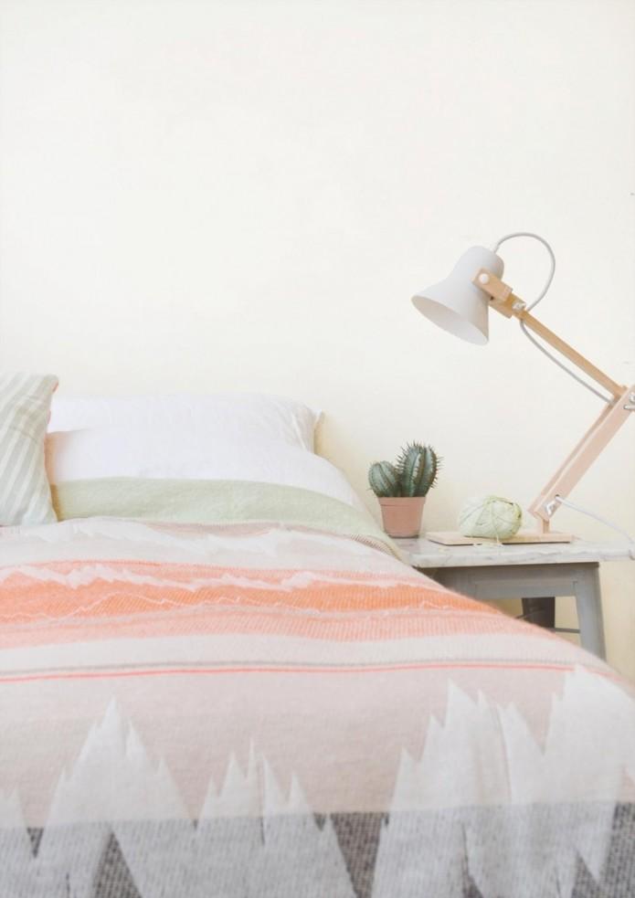 pink and grey Ikat Chevron bedding