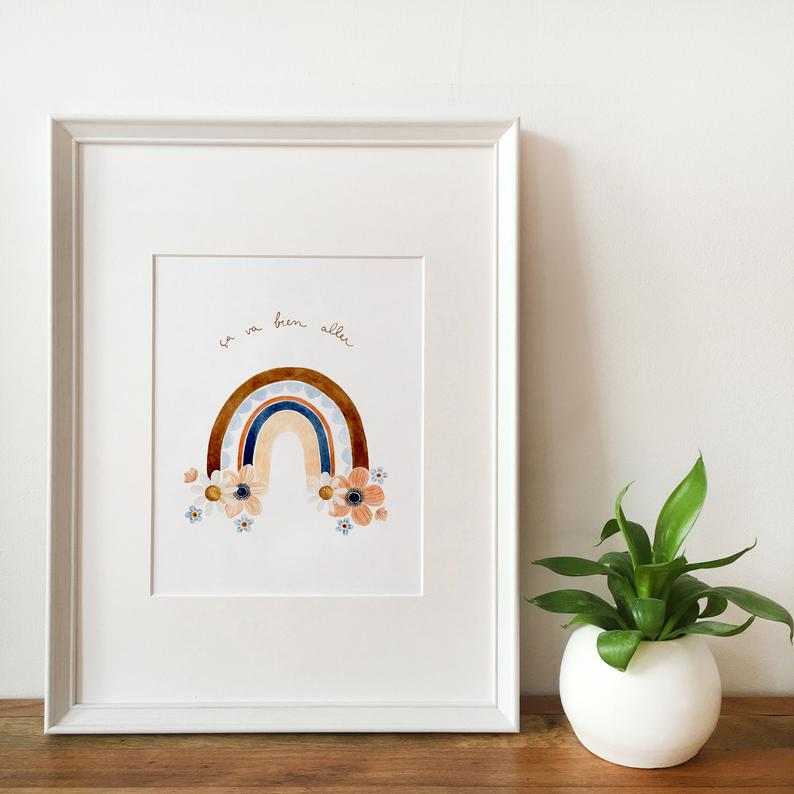 flafla design, illustration, arc-en-ciel, ça va bien aller, etsy québec