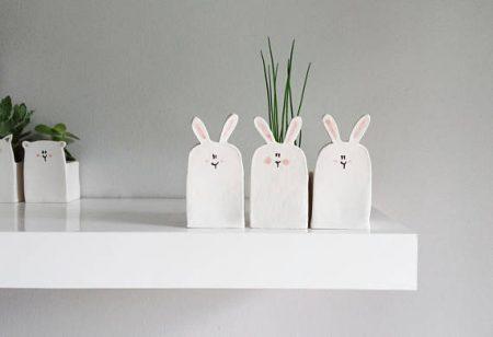 lapins, pot, plantes,etsy