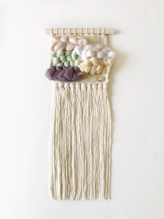 blanc laine, tissage, tissage mural, etsy, fête des mères