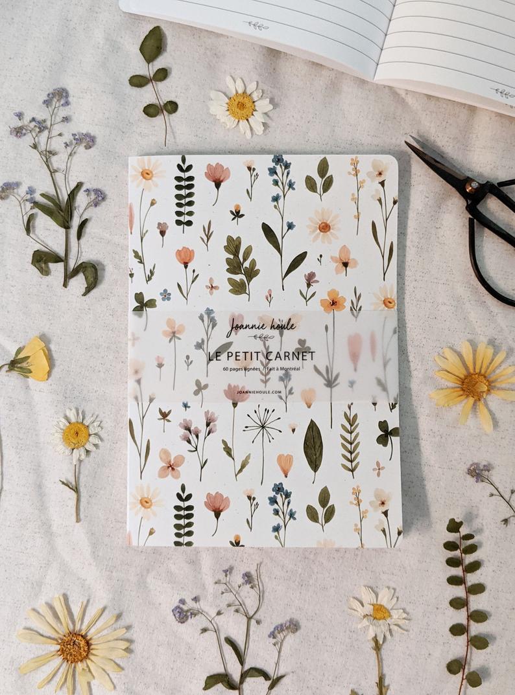 Joannie Houle Art, cahier de notes, fleurs, retour à l'école, rentrée
