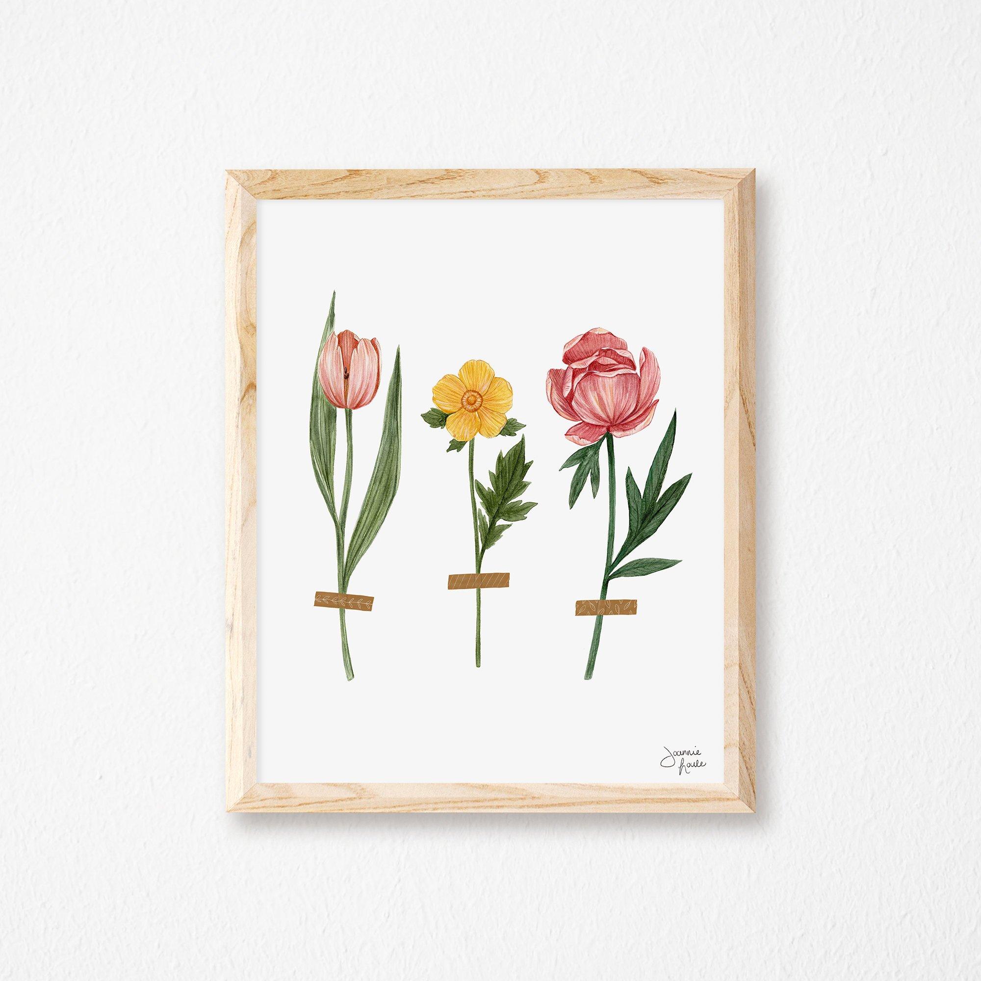 joannie houle, etsy, illustration, fleurs, florales, florale