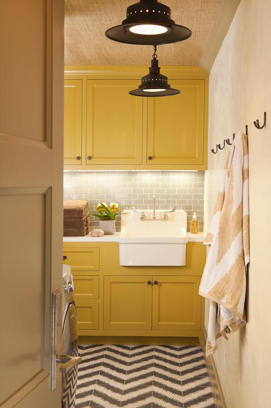 laundry room in yellow