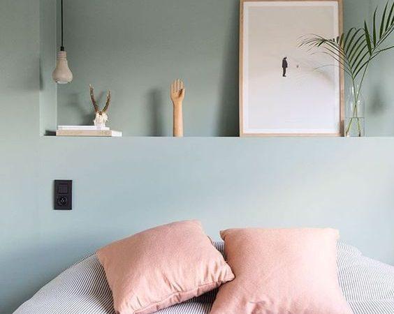 rose, vert sauge, chambre à coucher, inspiration