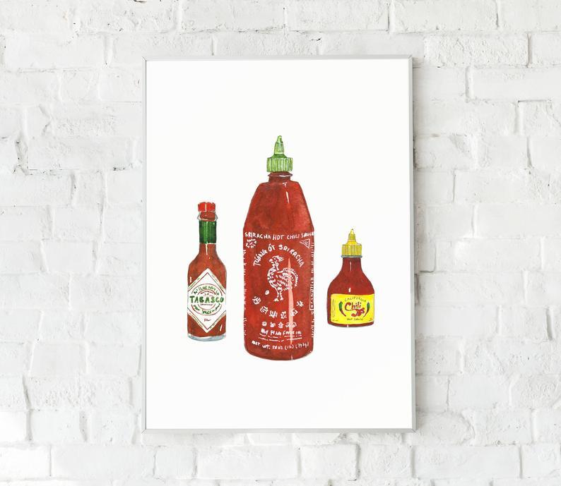 Atelier Perluette, Etsy, illustration, sauces piquantes