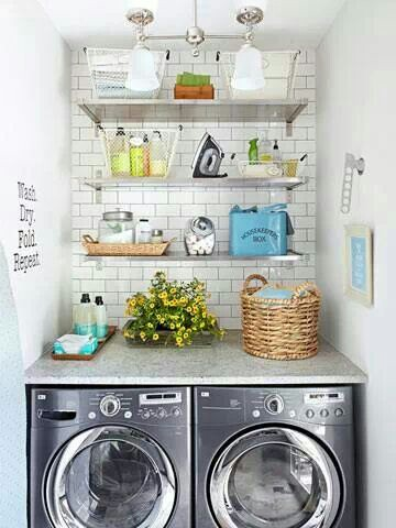 small laundry room space
